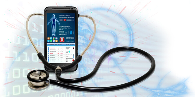 a cell phone with a stethoscope attached to it