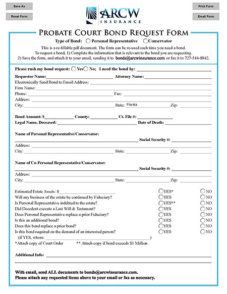 Probate Court Bond Request Form